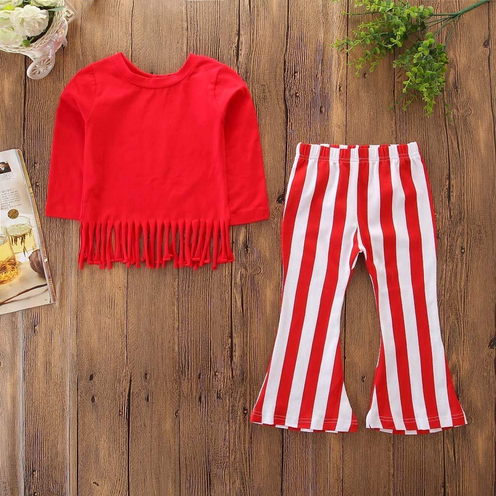 Stripe Zampa DElefante Pantaloni Outfits Sets Kinlene Bambini Lunghe Maniche Nappa Tops