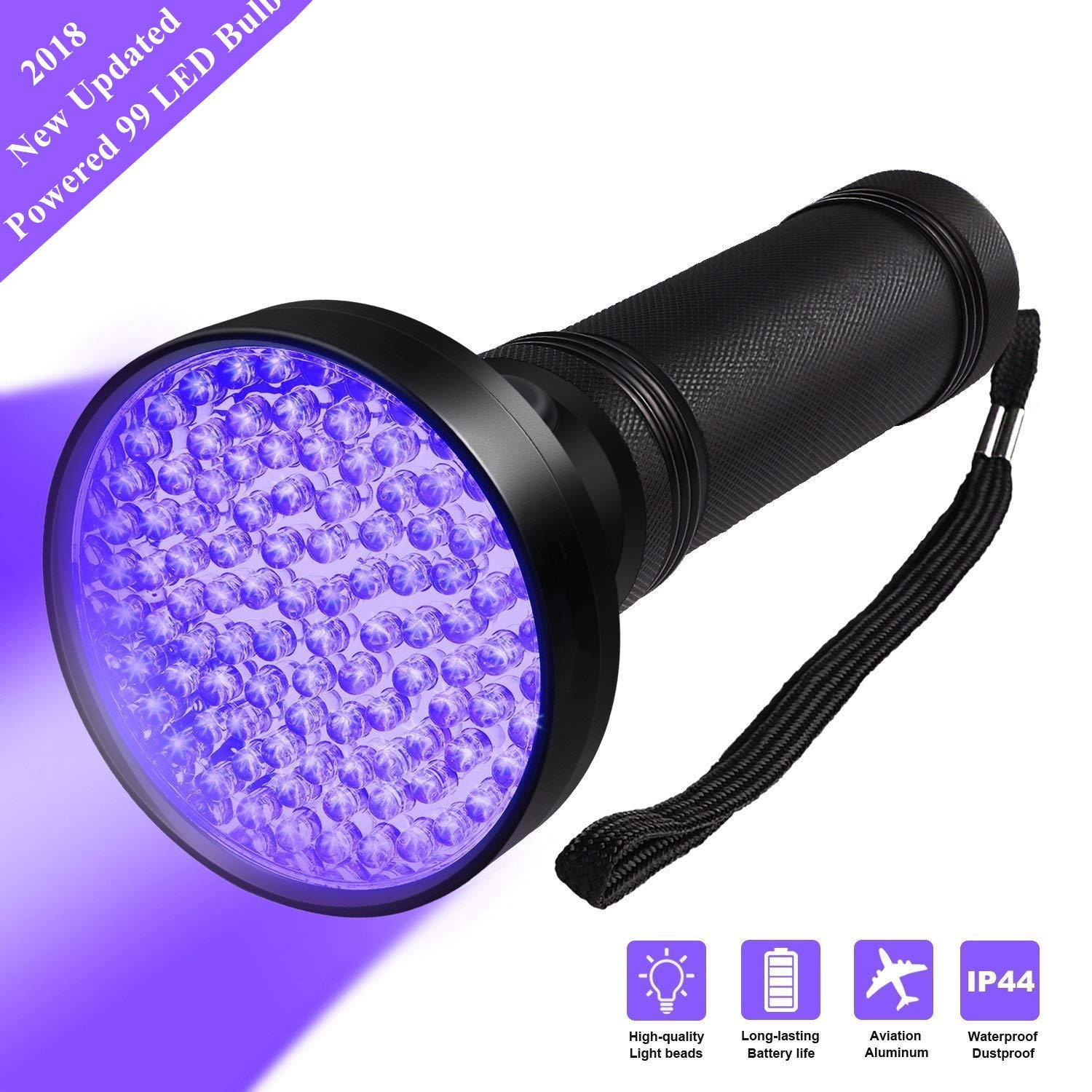 Black Light UV Flashlights, 68 LED 395 NM Ultraviolet Blacklight Detector for Home Hotel Dogs Cat Pet Urine Dry Stains Bed Bug Mold Leaks Scorpions Passport Cosmetic Inspection