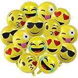 Palloncini Emoji per Party, Accessori da Festa, Confezione Assortita di Palloni Gonfiabili Tema Faccine Emoticon – Palloncini ad Elio - Pacco da 25