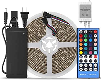 SUPERNIGHT 16.4ft 300 LEDs RGBW 5050 SMD LED Strip Light RGB+Cool White Multi-Color Changing Non-Waterproof with 40 Keys RGBW LED Remote Controller and 12V 5A Power Supply