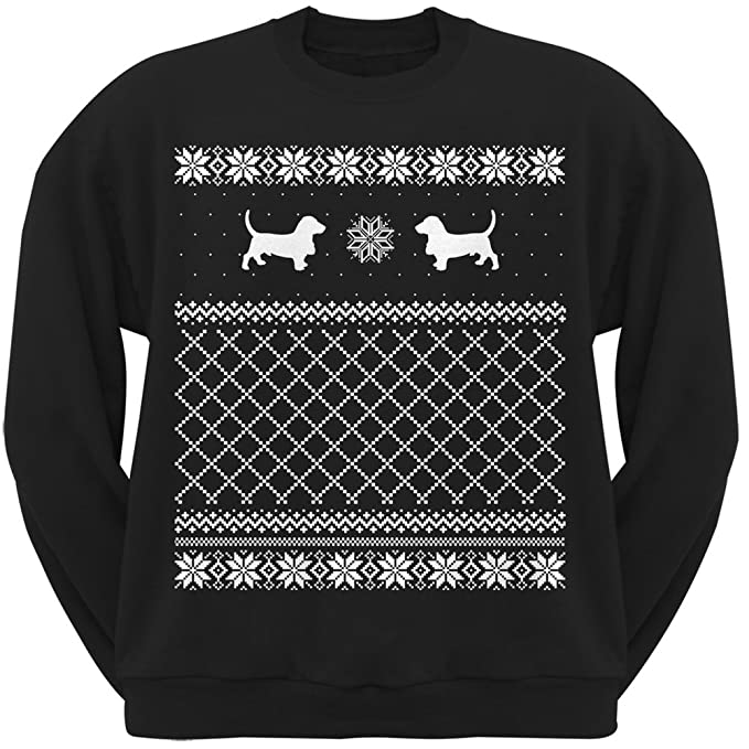 Amazoncom Basset Hound Black Adult Ugly Christmas Sweater Crew