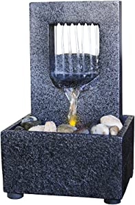 Nature's Mark Raining Spout LED Relaxation Water Fountain with Authentic River Rocks 10063