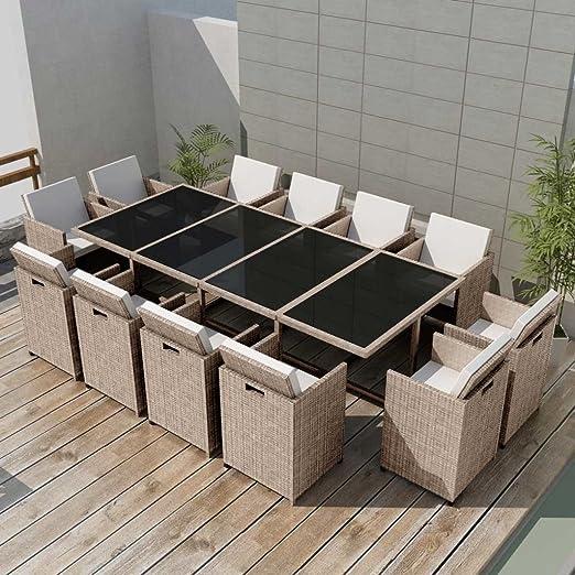 Lingjiushopping Juego Mesa y sillas para exteriores 37 unidades de ...
