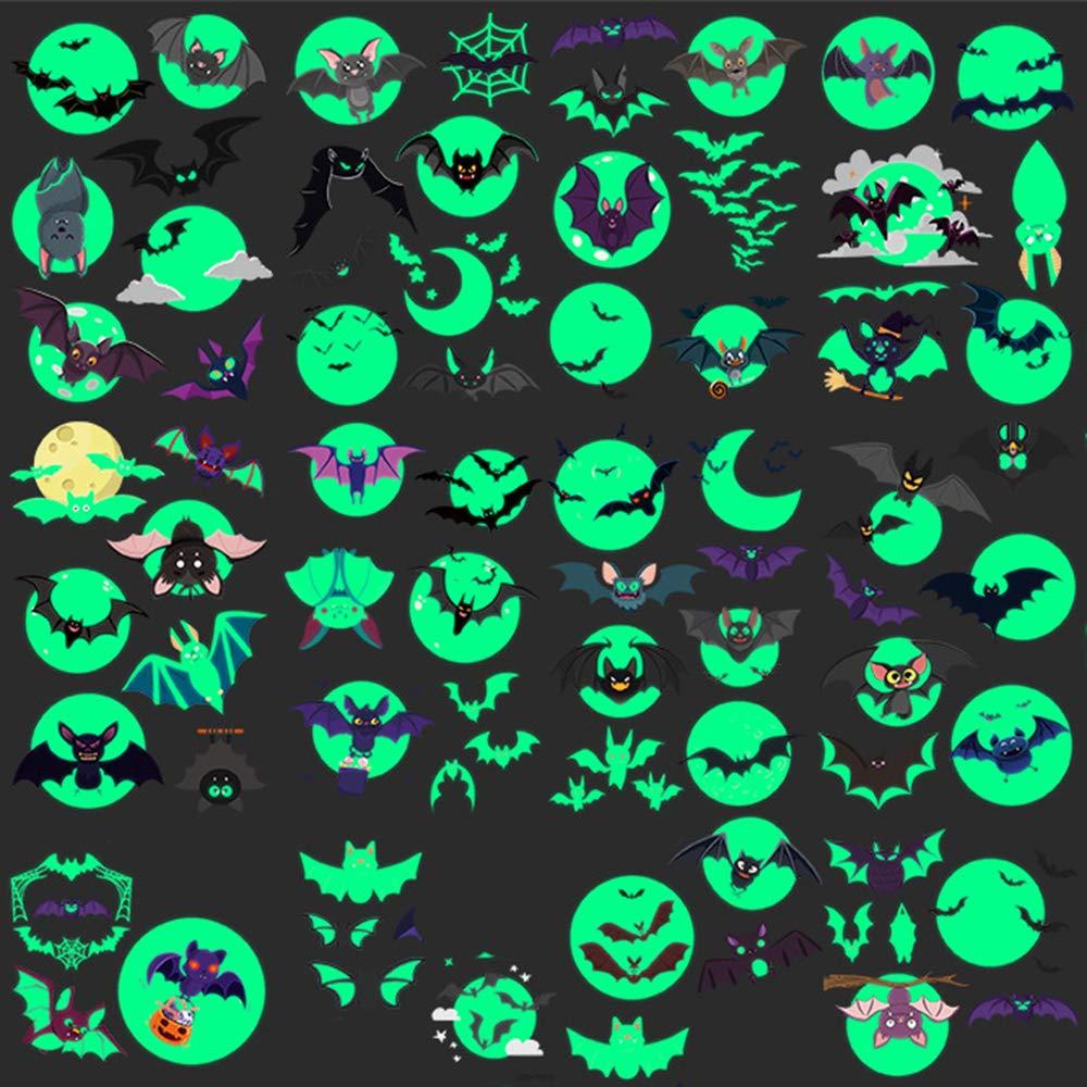 Oottati 10 Sheets Temporary Tattoo for Kids Glow in Dark Children Halloween Night Luminous Fluorescent Green Light Tiny Cute Baby Bat Moon