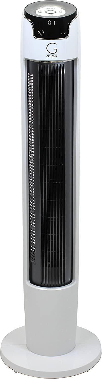 Genesis 43 Inch Oscillating Digital Tower Fan with Remote and Max Cool Technology, White