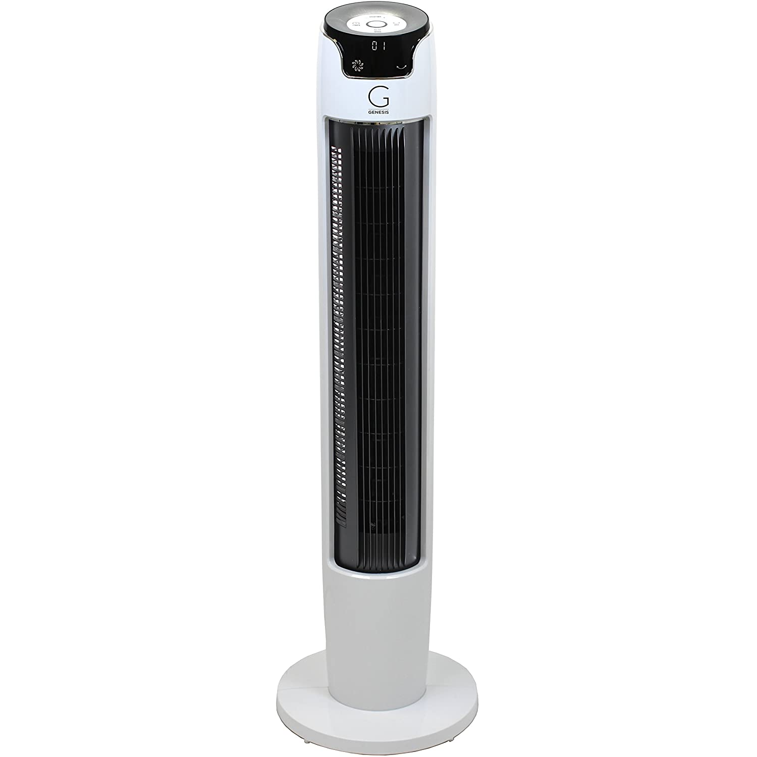 Genesis 43 Inch Oscillating Digital Tower Fan with Remote and Max Cool Technology