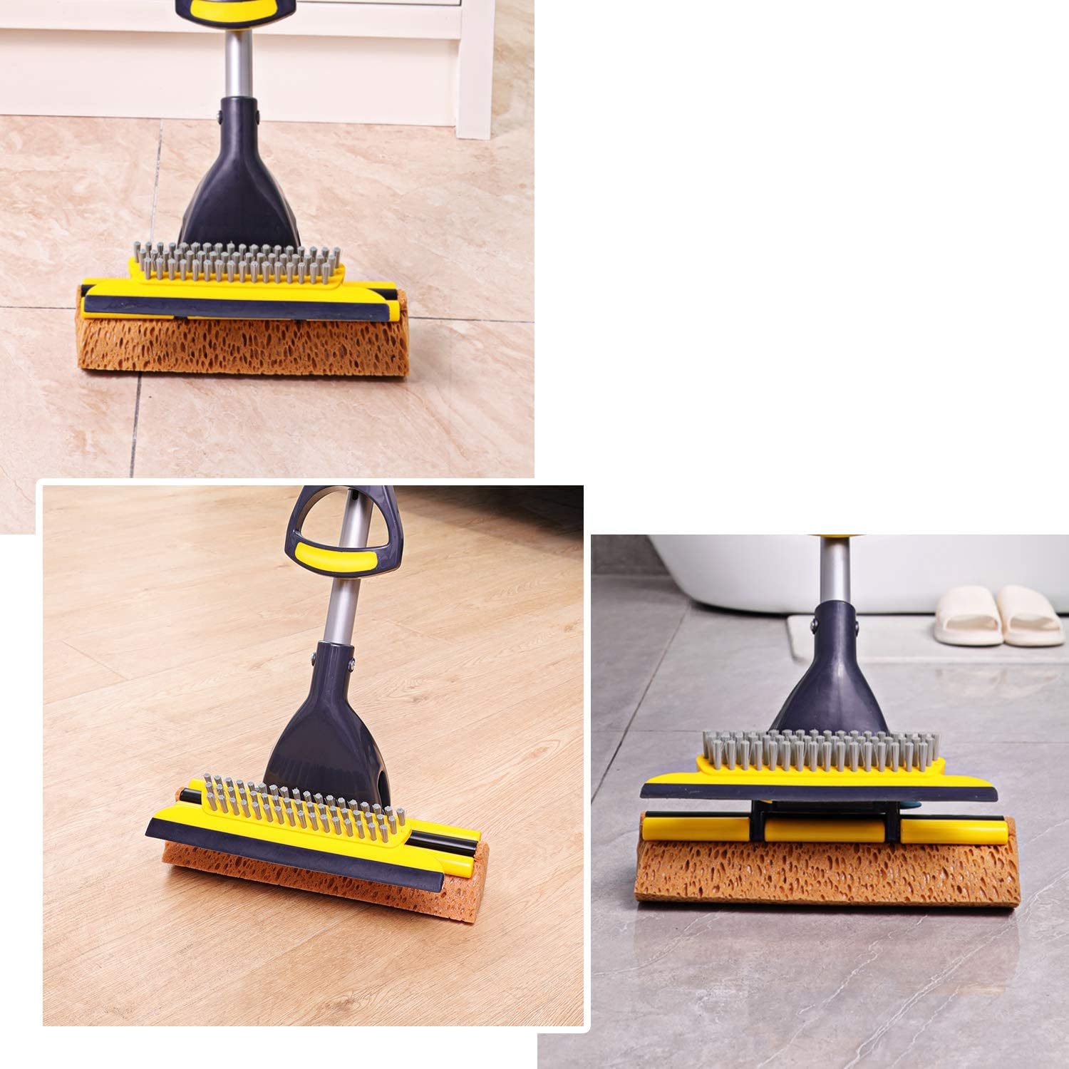 Yocada Sponge Mop Home Commercial Use Tile Floor Bathroom Garage Cleaning with Squeegee and Extendable Telescopic Long Handle 41-53 Inches Easily Dry Wringing: Kitchen & Dining