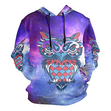 da86aeaebf51 Amazon.com  Space Owl King Hoodie Hooded Athletic Sweatshirts 3D ...