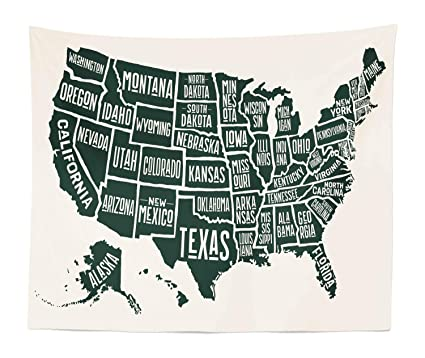 Lunarable USA Tapestry King Size, Black White Style United States America  Map Written State Names, Wall Hanging Bedspread Bed Cover Wall Decor, 104  WX ...