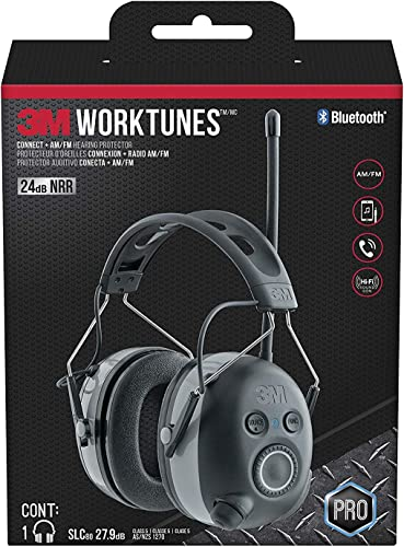 WorkTunes Connect AM FM Hearing Protector with Bluetooth Technology, Headphones, Ear protection for mowing, snowblowing, construction, work shops