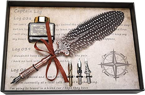 piuma bianca penna stilografica in metallo penna stilografica retr/ò per regali o uso personale Penna doca retr/ò Eropean Gwolf penna piuma doca penna in metallo calligrafia con scatola regalo