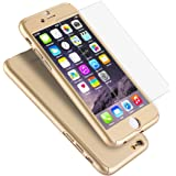 """iPhone 6 Plus Case, Coocolor Ultra Thin Full Body Coverage Protection Hard Slim iPhone 6 Plus Case with Tempered Glass Screen Protector for Apple iPhone 6 Plus 5.5""""(Gold)"""