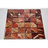 """Summer - 2"""" x 2"""" Red, Gold & Brown Glass Tile"""