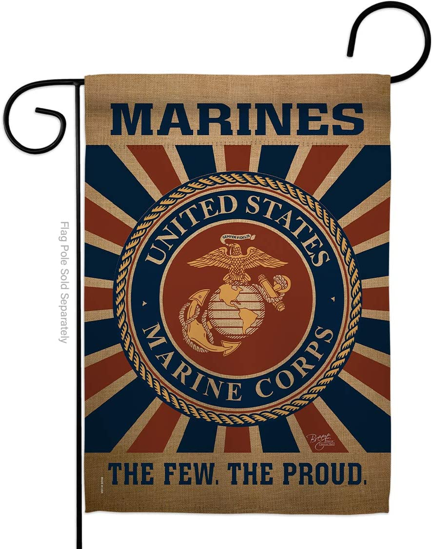 Breeze Decor Marine Corps Garden Flag Armed Forces USMC Semper Fi United State American Military Veteran Retire Official Small Decorative Gift Yard House Banner Double-Sided Made in USA 13 X 18.5