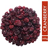 Sorich Organics Naturally Dried Whole Cranberries - Unsweetened, Unsulphured and Naturally Dehydrated Fruit - Value Pack - 600 Gm