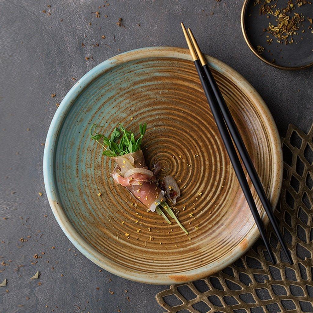 He Xiang Ya Shop Ceramic soup plate deep dish retro round fruit salad plate Flat dish steak plate 20.5 cm (8 inches) by He Xiang Ya Shop (Image #2)