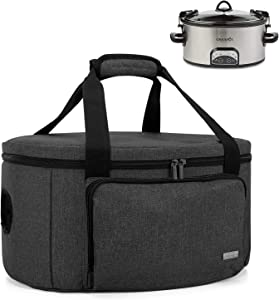 Luxja Insulated Slow Cooker Bag (with a Bottom Pad and Lid Fasten Straps), Slow Cooker Carrier Fits for Most 6-8 Quart Oval Slow Cooker, Black