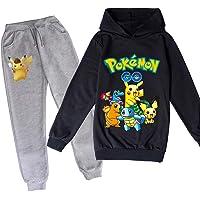 Proxiceen Pokemon, tryckt huvtröja tröja och byxor. Pikachu, flickor, pojkar, hoodie set, sweatshirt och byxor, 2…