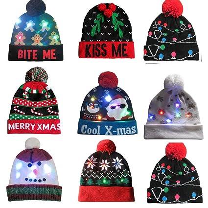 Lumumi Novelties LED Light-up Knitted Ugly Sweater Holiday Xmas Christmas  Beanie - 3 Flashing 9bc32b922b56