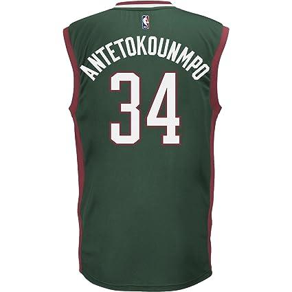 Adidas Camiseta NBA Milwaukee Bucks Giannis Antetokounmpo Verde, Color Verde Oscuro, tamaño XXS
