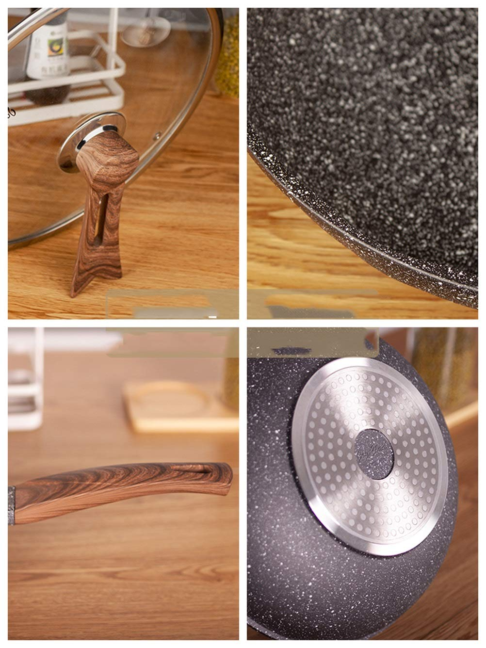 WYQSZ Wok - home flat wok non-stick pan less smoked kitchen cooking multi-function wok -fry pan 2365 (Design : B) by WYQSZ (Image #6)