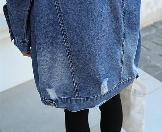 2abd4b36bbc6 IWFREE Femmes Printemps Automne Casual Veste en Jeans avec Perles Col Roulé  Manches Longues Jacket Loose Veste Longue Boyfriend Style Outwear pour ...
