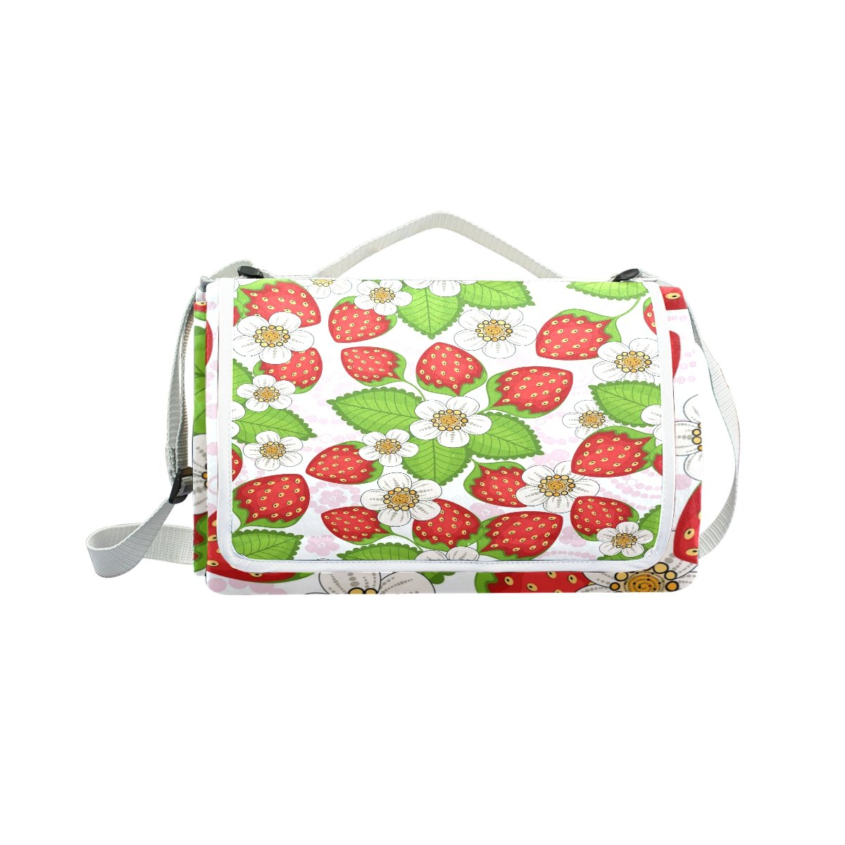 My Little Nest Outdoor Camping Picnic Beach Blanket Mat Floral Strawberries Lightweight Portable Folding Travel Pad 57'' x 59''