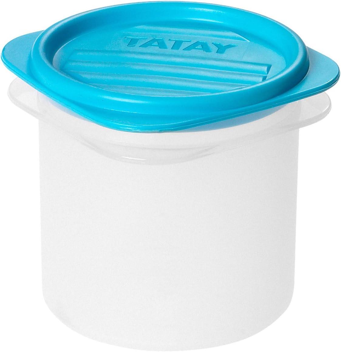 Tatay 1160000 Contenedor de alimentos hermético cilíndrico flexible a presión. Plástico transparente con tapa azul libre de bpa 03 litros de capacidad, 8.7 x 8,7 x 8,5 cm