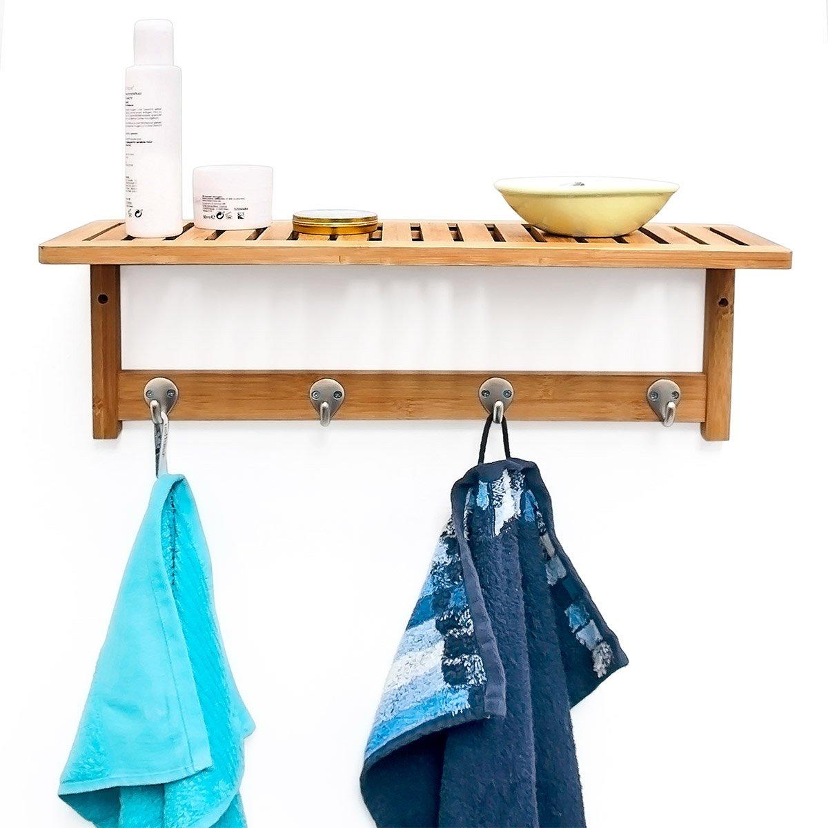 Relaxdays Wandregal mit Hakenleiste HBT 18 x 50 x 16 cm Wandgarderobe mit 4 Haken und Ablage als Badregal mit Handtuchhalter aus Bambus Holz Wandhandtuchhalter als Garderobe f/ür Diele und Bad natur