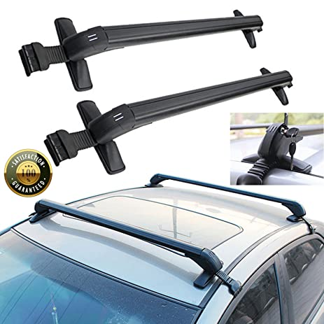 Universal Car Top Roof Rack Cross Bars Black Luggage Cargo Carrier Lockable  Anti Theft Design