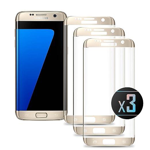 3 opinioni per 3 x Pellicola Vetro Temperato Samsung Galaxy S7 EDGE (Gold) Protezione Dello
