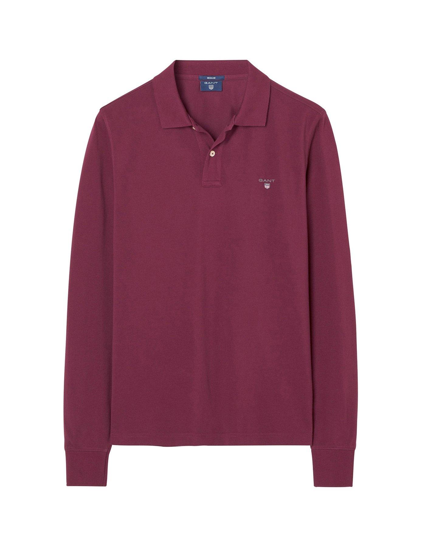 Gant Men's Men's Burgundy Long Sleeve Polo in Size XXL Red