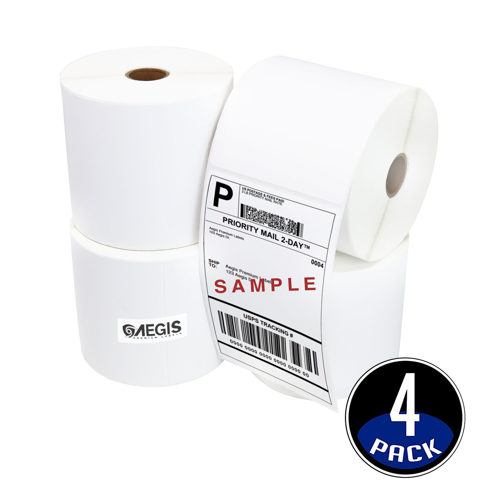 [4 Rolls, 450/Roll] Aegis 4'' X 6'' Direct Thermal Shipping Labels, UPS, FedEx, USPS Compatible with Zebra 2844 ZP-450 ZP-500, Eltron Printers