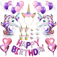 Unicorn Birthday Party Supplies Decorations- 68pcs Complete Set- Cake Cupcake Toppers, Gold Headband,Helium Foil Balloons,Heart Balloons,Unicorn Party Rubber Bangle Bracelet,Happy Birthday Banner