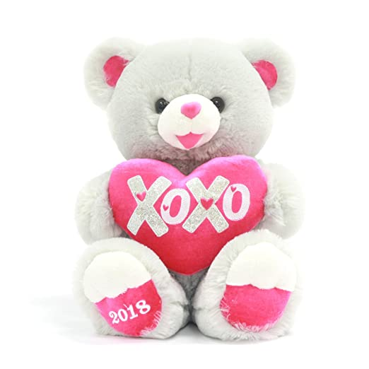 Amazon.com: Valentines Day Gifts for her Stuffed 15 inch Sweetheart XOXO Teddy Bear Gray with Heart . Super-Soft 2018. She will Remember you forever.
