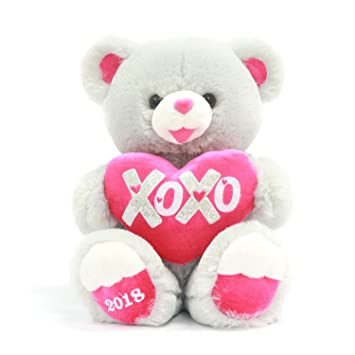 Valentines Day Gifts for her Stuffed 15 inch Sweetheart XOXO Teddy Bear Gray with Heart .
