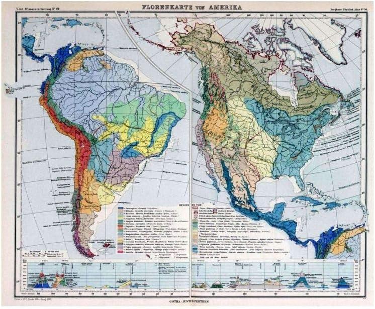 Amazon Com 1887 Physical Atlas Map Florenkarte Von Amerika Entw