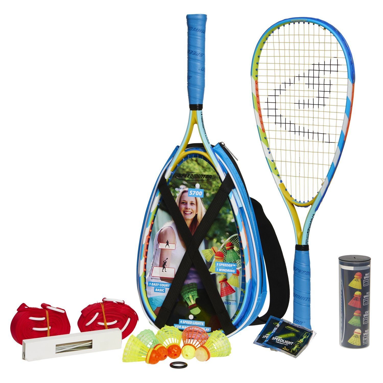 Speedminton S700 Set - Original speed ​​badminton / crossminton all-round set that includes 2 rackets, 5 Speeder tube, Easy Court, bag