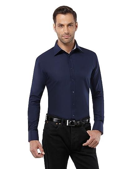 Embraer Herren-Hemd bügelfrei 100% Baumwolle Slim-fit tailliert Uni-Farben  New-Kent Kragen - Männer lang-arm Hemden für Anzug mit Krawatte Business  Hochzeit ... 65b100baaf