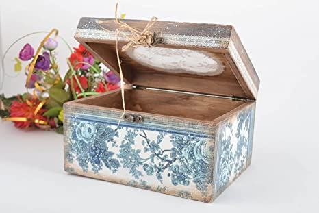 Caja de madera hecha a mano de decoupage regalo para mujer joyero original