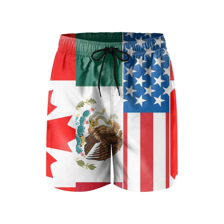 yuqiang Mens USA Mexico Flag Quick Dry Summer Beach Surfing Board Shorts Swim Trunks Cargo Shorts