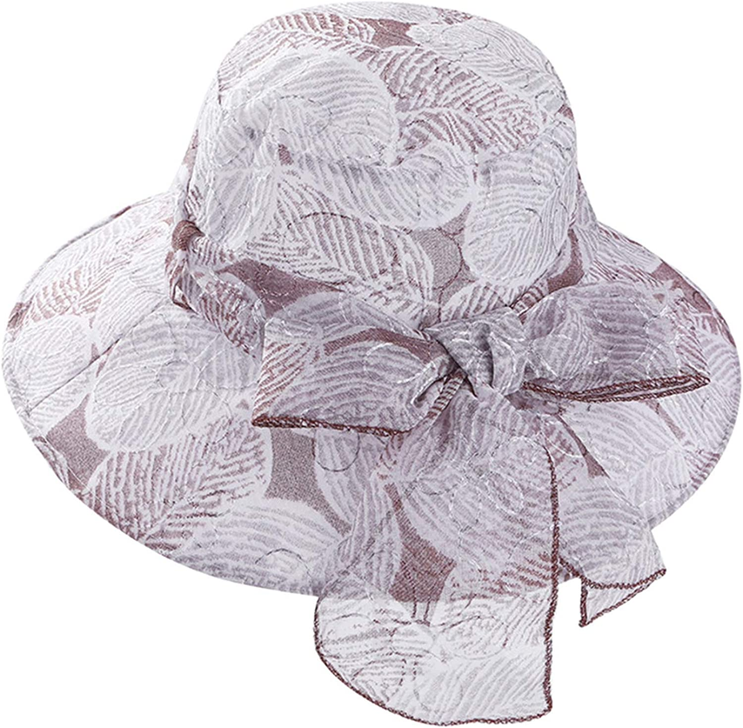 Fashion Bowknot Wedding Fedora Summer Women Organza Gauze Large Wide Brim Sun Hat Church Hat