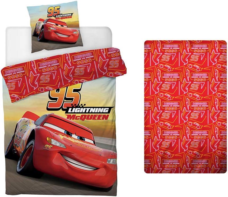Housse de Couette 140x200 cm AYMAX S.P.R.L Drap-Housse Disney Cars Parure de Lit 3 Pi/èces Taie doreiller