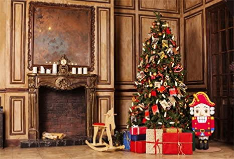 csfoto 8x6ft background retro fireplace christmas tree decor inside photography backdrop nostalgia cute soldier merry christmas - Fireplace Christmas Decorations Amazon