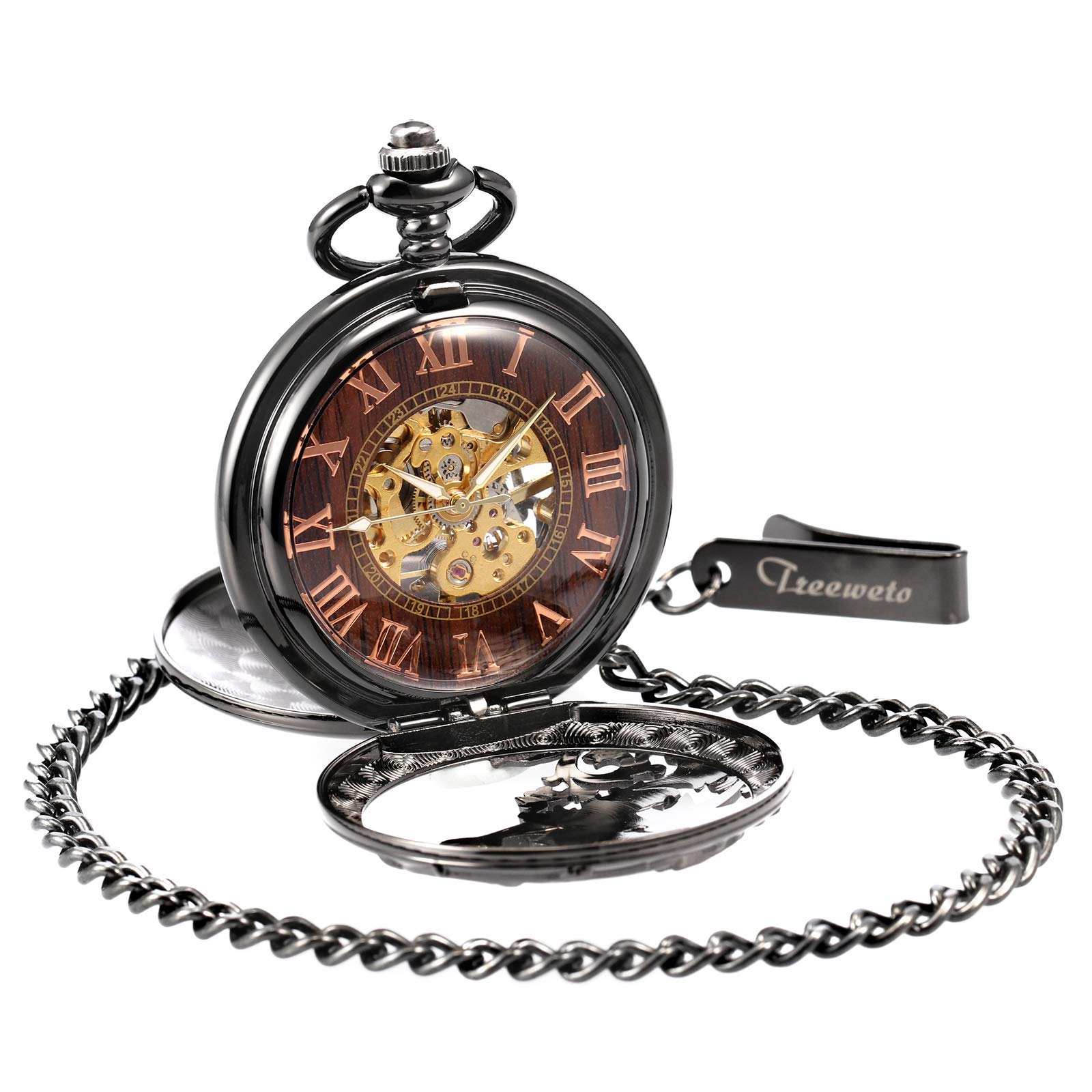 Treeweto Antique Dragon Mechanical Skeleton Pocket Watch with Chain by TREEWETO (Image #5)