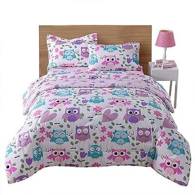 MarCielo Kids Comforter Set Girls Comforter Set Kids Bedding Set Include Sheet Set Bunk Beds for Kids Twin/Full, Owl (Twin): Home & Kitchen