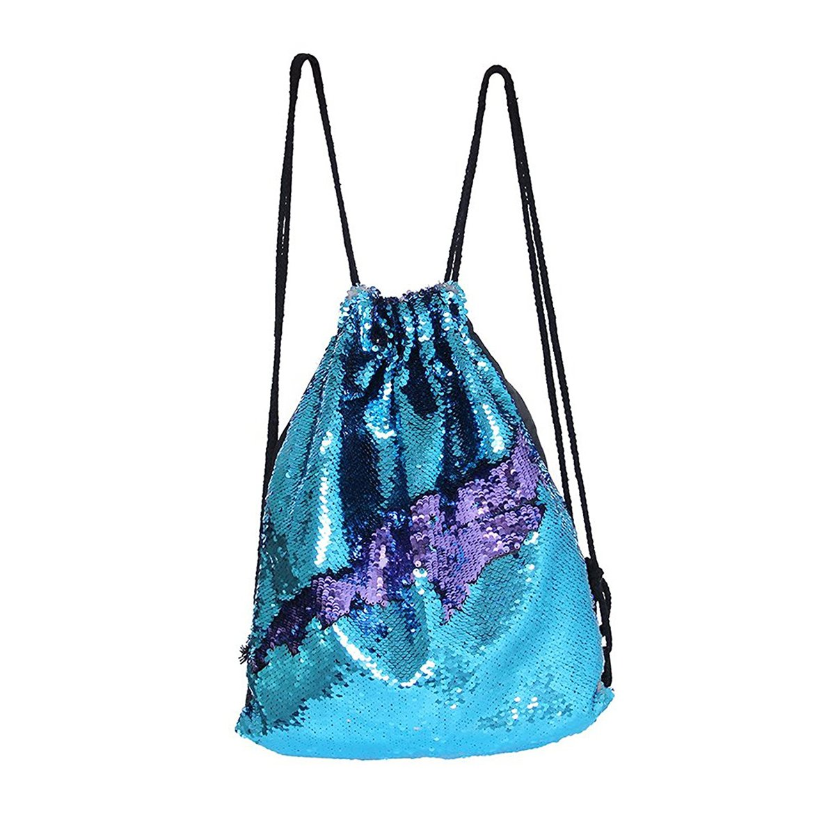 Xy Litol Sequin Drawstring Backpack, Fashion Glitter Sequins Mermaid Cut Magic Reversible Glitter String Gym Sport Bag Tiffany Blue Purple