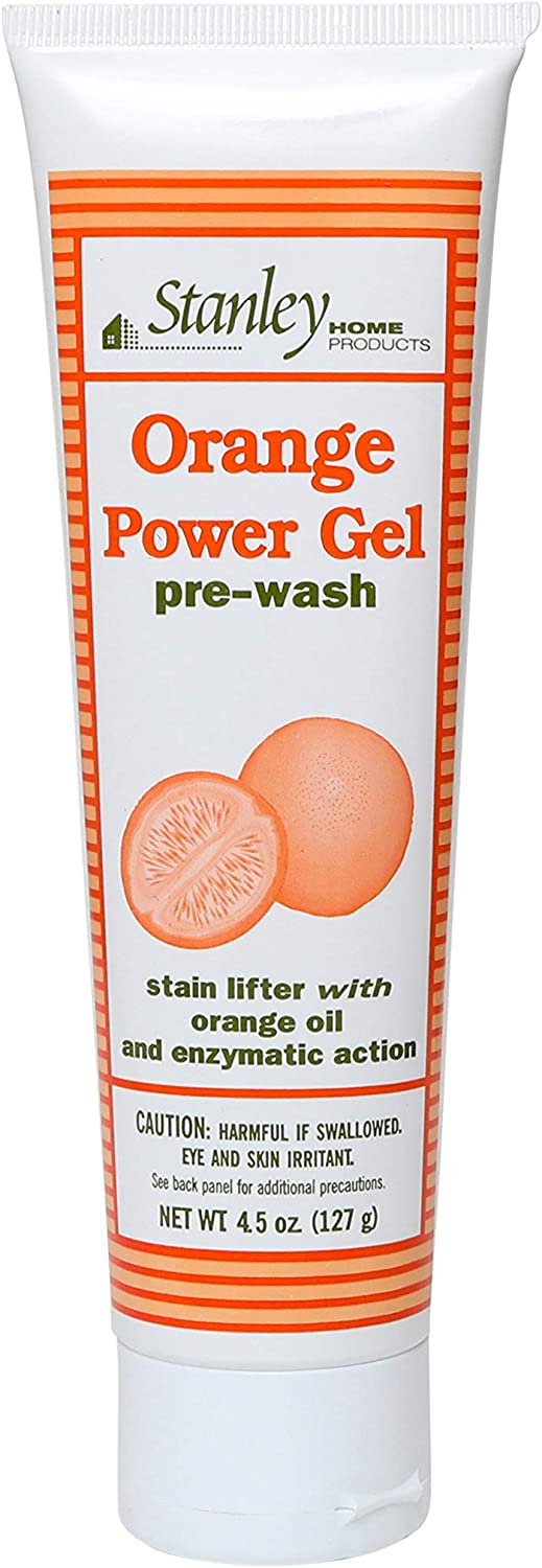 STANLEY HOME PRODUCTS Orange Power Gel Pre Wash - Pre-Laundry Stain Remover - Color Safe & Brush Free Oil, Grease, Ink & Deodorant Spot Removal for Clothes & Sheets
