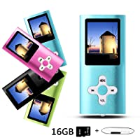 Btopllc MP3 Player, MP4 Player, Music Player, Portable 1.7 inch LCD MP3 / MP4 Player, Media Player 16GB Card, Mini USB Port USB Cable, Hi-Fi MP3 Music Player, Voice Recorder Media Player - Blue