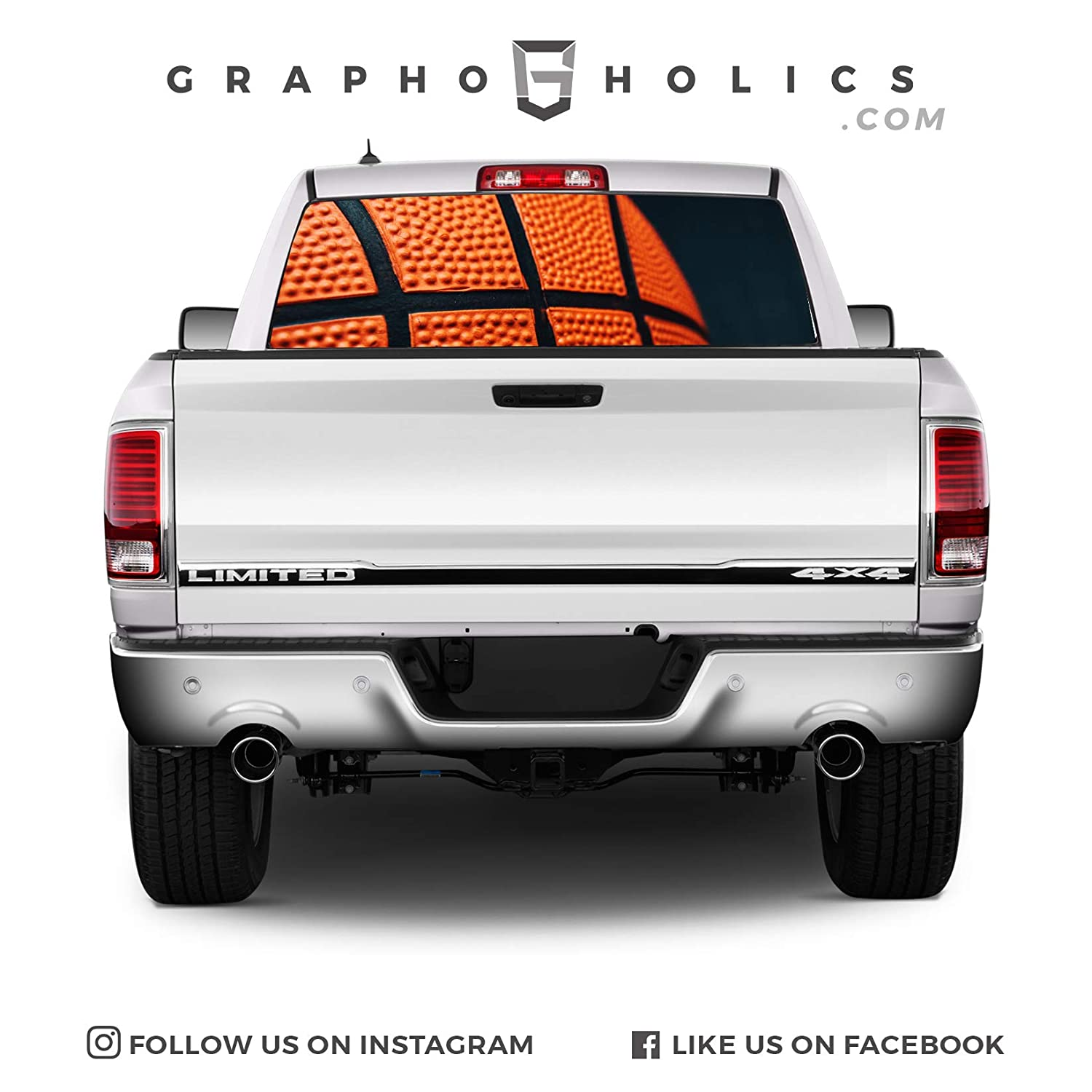 Basketball Themed Wrap Pick-Up Truck Perforated Rear Window Wrap